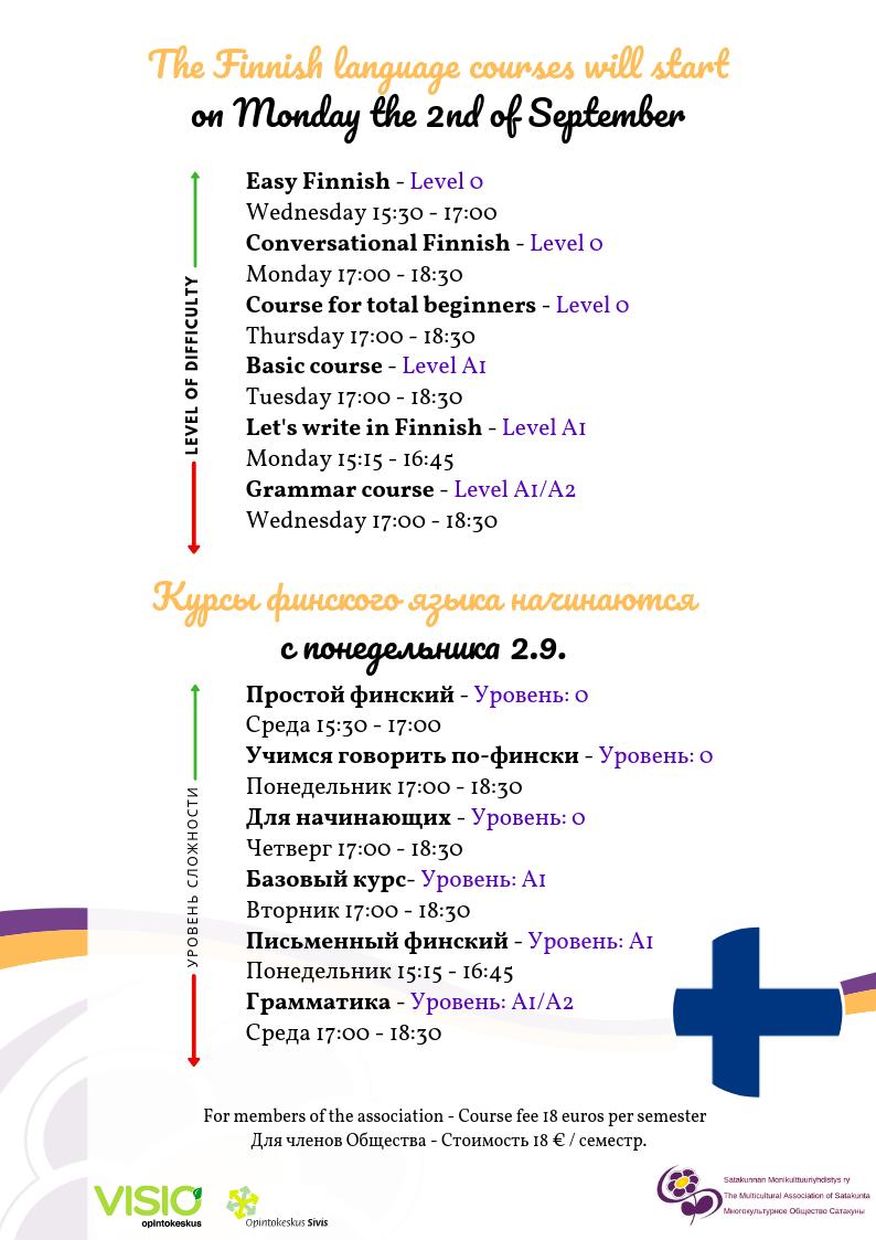Курсы финского языка начинаются с понедельника 2.9.